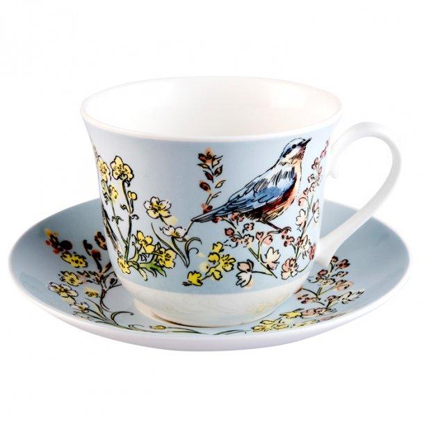 Morning Chorus, stor kaffe og te kop med Fugl og blomster 0,45l.