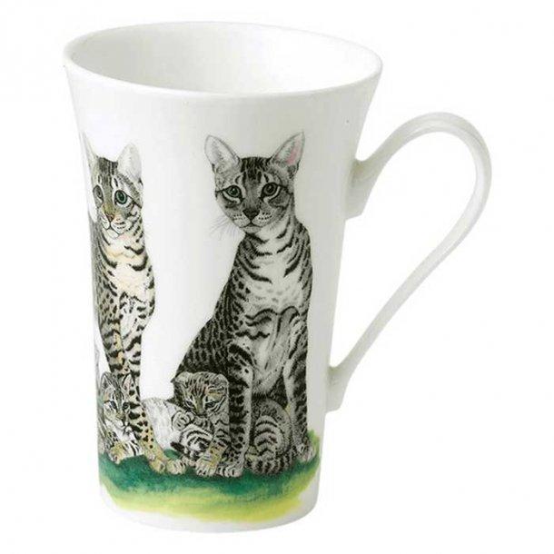 Krus med mønstrede tabby katte, kaffe og te krus med katte 0,40 ltr