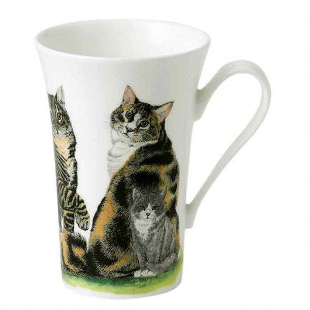Krus med stribede tortie katte. Dejligt kaffe- og tekrus 0,40 l