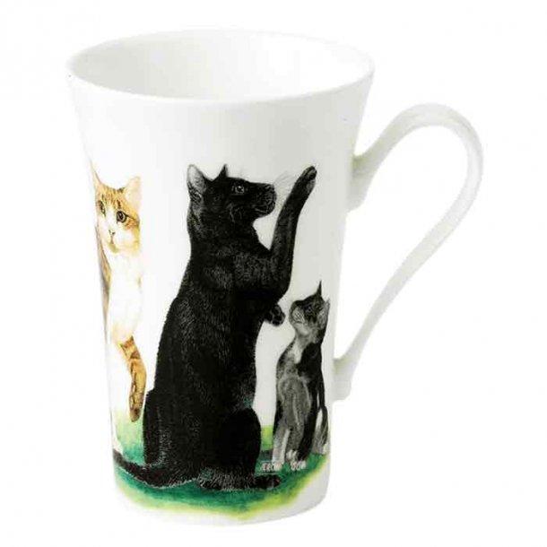 Mugg med svart, vit och grå katt. Kaffe och te mugg 0,40 ltr