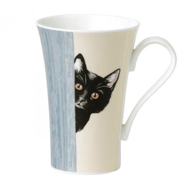 Stort Latte Jumbo Krus med sort kat. Krus 0,6 ltr.