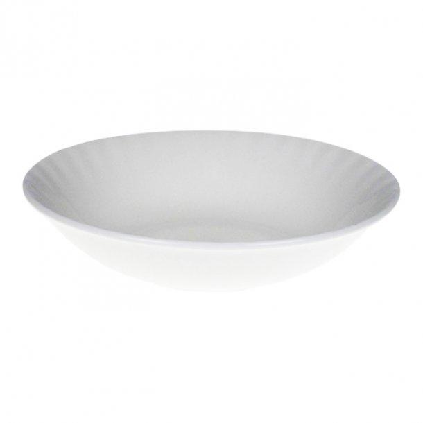 Hvid Ymerskål med riller i det fineste engelske benporcelæn Ø18 cm