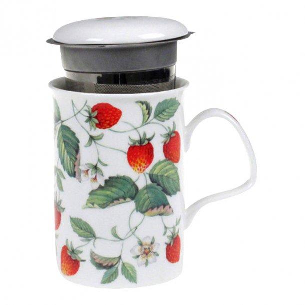 Alpine Strawberry Krus med tesi og jordbær, et flot te krus 0,33ltr.