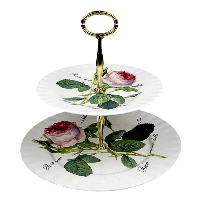 1720ed21362 Redoute Roses Opsats Etagere Kagefad med Roser 2 etager