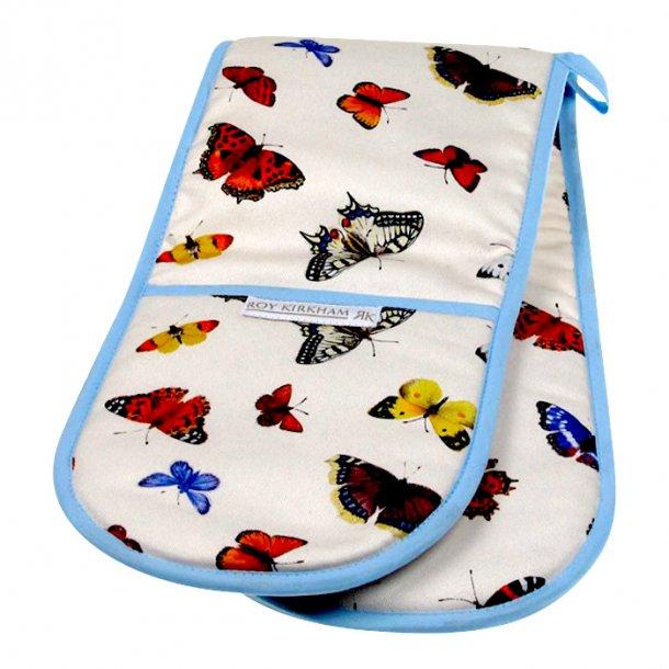 Butterfly Garden dobbelt grillhandske med sommerfugle.