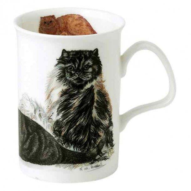Krus med Katte, Perser -   Langhåret, Sort og Hvide Katte  0,33 ltr