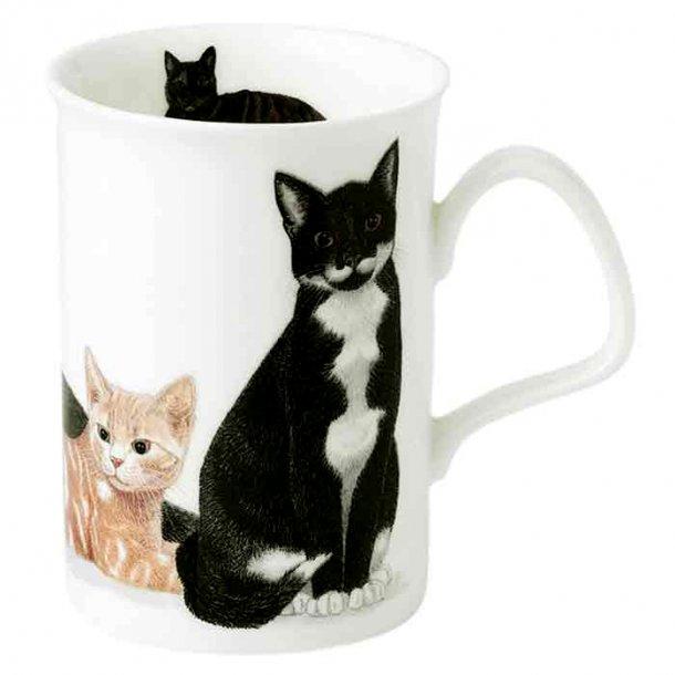 Krus med Sort , Hvid og Beige kat 0,33 ltr,