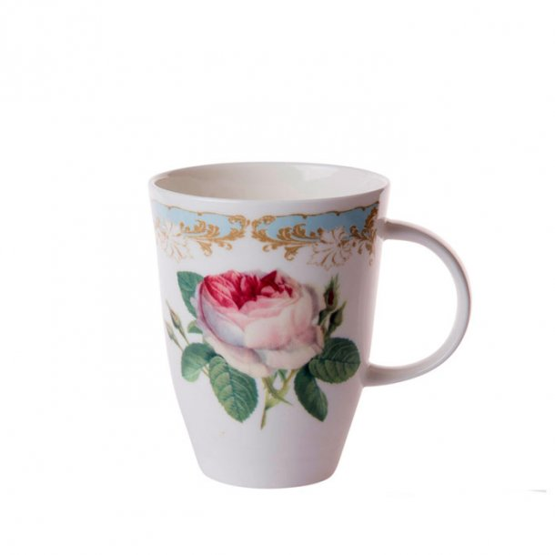 Vintage Rose Krus Louise, store kaffe og te krus med rose 0,4 ltr.