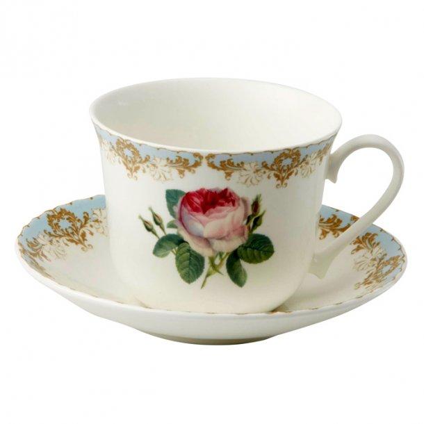Vintage Rose, stor og elegant  kaffe og te kop med rose 0,45 ltr.
