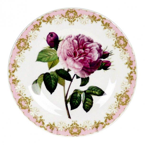 Vintage Rose Tallerken  med Roser 20 cm Pink
