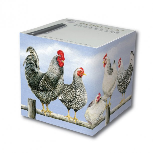 Black & White Chickens Papirblok 9x9x9 cm