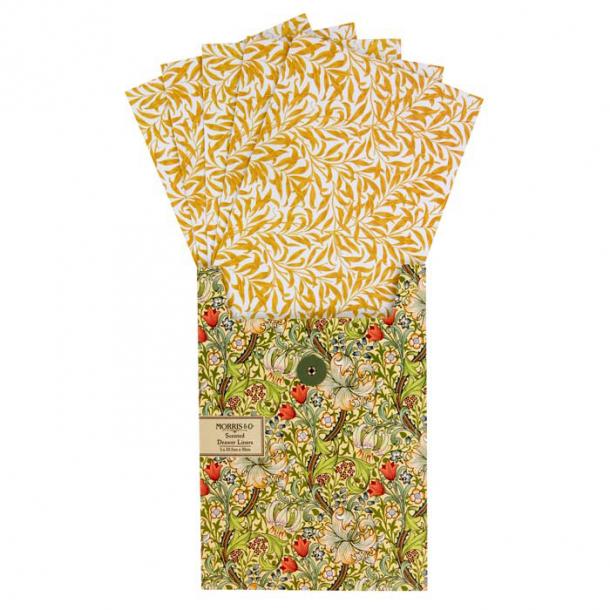 Morris & Co Golden Lily packar med 5 st Hyllpapper i 33,5x50cm